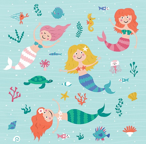 Nastja Holtfreter Illustration - nastja, holtfreter, nastja holtfreter, commercial, educational, fiction, mass market, value, greetings cards YA, young reader, picture book, digital, photoshop, mermaids, ladies, people, fish, jellyfish, turtle, tortoise, puffer fish, colourful, colour