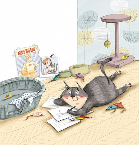 Olivia Beckman Illustration - olivia, beckman, olivia beckman, marta, fernandez, marta fernandez, trade, fiction, picture book, cute, sweet, painted, digital, photoshop, traditional, textured, cat, pet, letter, writing, basket, floor, santa, toys, mice, poster, pictures, bowls, paper,