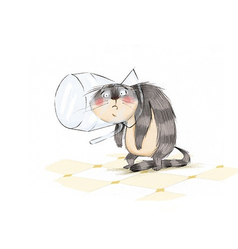 Olivia Beckman Illustration - olivia, beckman, olivia beckman, marta, fernandez, marta fernandez, trade, fiction, picture book, cute, sweet, painted, digital, photoshop, traditional, textured, cat, pet, jar, stuck, accident, grumpy, funny,
