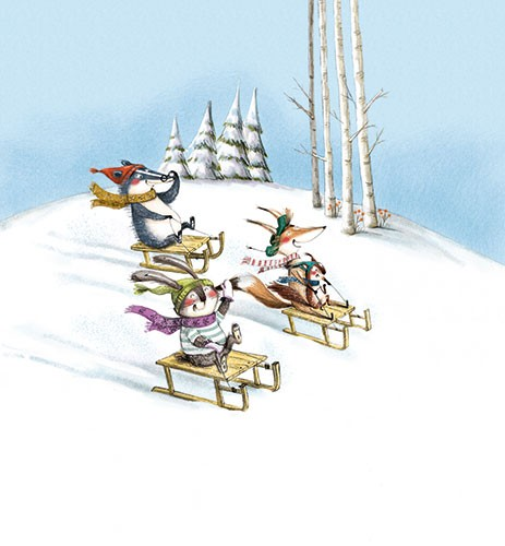 Olivia Beckman Illustration - olivia, beckman, olivia beckman, marta, fernandez, marta fernandez, trade,fiction, editorial, picture book, greetings cards, cute, sweet, young, painted, digital, photoshop, traditional, textured, animals, wildlife, snow, winter, sledge, trees, badger, fo