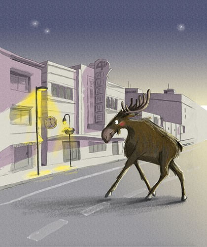 Olivia Beckman Illustration - olivia, beckman, olivia beckman, marta, fernandez, marta fernandez, trade,fiction, editorial, picture book, greetings cards, cute, sweet, young, painted, digital, photoshop, traditional, textured, painted, acrylic, animals, moose, street, lamp, town, city