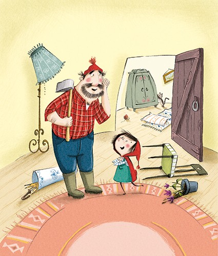 Olivia Beckman Illustration - olivia, beckman, olivia beckman, marta, fernandez, marta fernandez, trade,fiction, editorial, picture book, greetings cards, cute, sweet, young, painted, digital, photoshop, traditional, textured, red riding hood, girl, house, man, woodcutter, mess, home