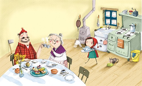 Olivia Beckman Illustration - olivia, beckman, olivia beckman, marta, fernandez, marta fernandez, trade,fiction, editorial, picture book, greetings cards, cute, sweet, young, painted, digital, photoshop, traditional, textured, red riding hood, girl, home, house, kitchen, man, grandma,
