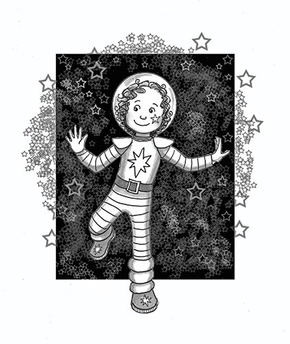 Olivia Palmer Illustration - olivia palmer, olivia, palmer, b&w, black and white, fiction, digital, pen & ink, grey scale, chapter books, ya, young adult, girls, stars, space, astronaut, costume, fancy dress,