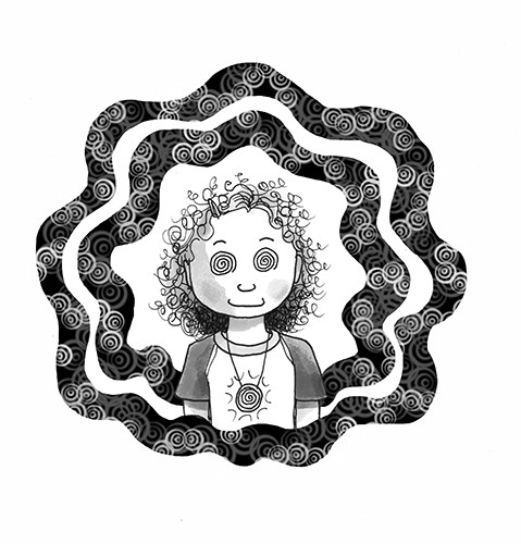 Olivia Palmer Illustration - olivia palmer, olivia, palmer, b&w, black and white, fiction, digital, pen & ink, grey scale, chapter books, ya, young adult, swirls, spooky, magic, spells, patterns