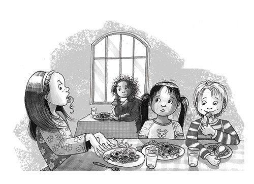 Olivia Palmer Illustration - olivia palmer, olivia, palmer, b&w, black and white, fiction, digital, pen & ink, grey scale, chapter books, ya, young adult, girls, eating, spaghetti, tables, canteen, cafe, restaurant, pasta, meal, lunch, dinner, boys, friends, angry, windows, school, w
