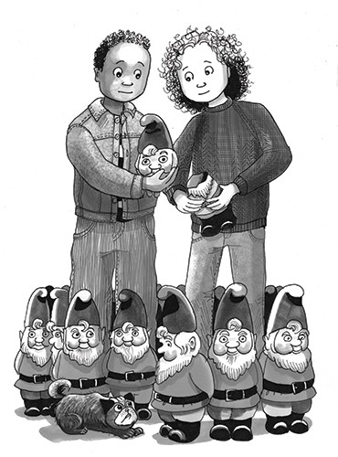 Olivia Palmer Illustration - olivia palmer, olivia, palmer, b&w, black and white, fiction, digital, pen & ink, grey scale, chapter books, ya, young adult,gnomes, girls, boys, friends, garden, outside, outdoors, cats, kittens, kittys, broken, ornaments,