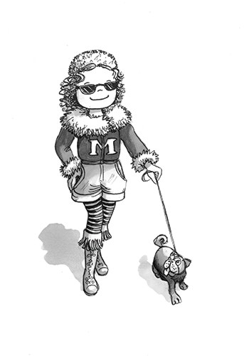Olivia Palmer Illustration - olivia palmer, olivia, palmer, b&w, black and white, fiction, digital, pen & ink, grey scale, chapter books, ya, young adult, girls, pets, puppy, doggy, dogs, sunglasses, coat, pug, star, celebrity,