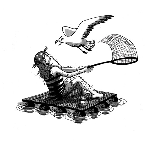 Olivia Palmer Illustration - olivia palmer, olivia, palmer, b&w, black and white, fiction, digital, pen & ink, grey scale, chapter books, ya, young adult,seagulls, birds, flying, attacking, fisherman, fishing, nets, bandana, floating sea, ocean,