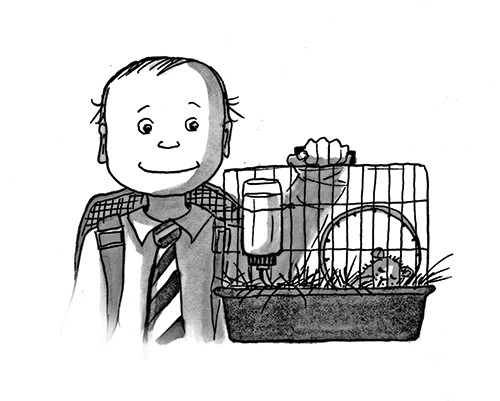 Olivia Palmer Illustration - olivia palmer, olivia, palmer, b&w, black and white, fiction, digital, pen & ink, grey scale, chapter books, ya, young adult, boys, pets animals, hamsters, cage, sleeping, home, house,