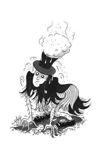 Olivia Palmer Illustration - olivia palmer, olivia, palmer, b&w, black and white, fiction, digital, pen & ink, grey scale, chapter books, ya, young adult, scarecrow, spooky, rags, ghosts, steam, top hats, scary