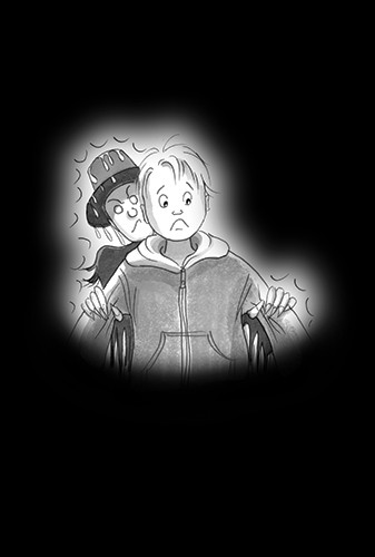 Olivia Palmer Illustration - olivia palmer, olivia, palmer, b&w, black and white, fiction, digital, pen & ink, grey scale, chapter books, ya, young adult, spooky, scary, lights, dark, boys, scared, scarecrow,