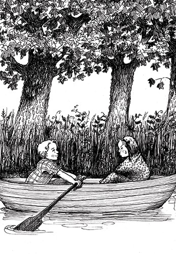 Olivia Palmer Illustration - olivia palmer, olivia, palmer, b&w, black and white, fiction, digital, pen & ink, grey scale, chapter books, ya, young adult,boys, girls, children, kids, boats, rowing, lake, stream, river, riverbanks, water, oars, friends, brothers, sisters, siblings, co