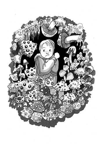 Olivia Palmer Illustration - olivia palmer, olivia, palmer, b&w, black and white, fiction, digital, pen & ink, grey scale, chapter books, ya, young adult,boys, scared, lonely, sooty, forests, darkness, night time, mushrooms, woodlands, flowers,