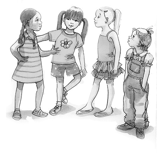 Olivia Palmer Illustration - olivia palmer, olivia, palmer, b&w, black and white, fiction, digital, pen & ink, grey scale, chapter books, ya, young adult,girls, friends, groups, children, kids, dungarees, tutus,shorts, dresses