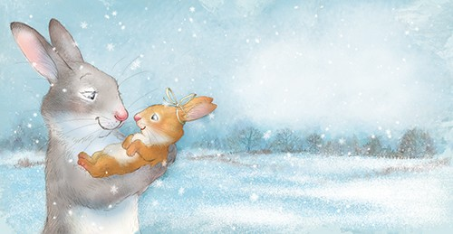 Petra Brown Illustration - petra, brown, petra brown, watercolour, paint, painted, commercial, traditional, trade, picture book, picture book, cute, sweet, young, rabbits, mum, baby, parent, child, family, snow, hug, cuddle