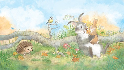 Petra Brown Illustration - petra, brown, petra brown, watercolour, paint, painted, commercial, traditional, trade, picture book, picture book, cute, sweet, young, rabbits, grandad, grandparents, family, nature, grassy, sky, sun, autumn, bird, hedgehog