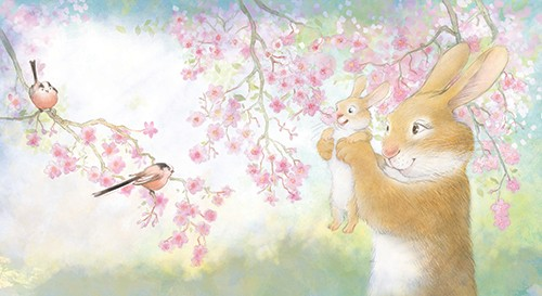 Petra Brown Illustration - petra, brown, petra brown, watercolour, paint, painted, commercial, traditional, trade, picture book, picture book, cute, sweet, young, rabbits, mum, parents. child, flowers, tree,
