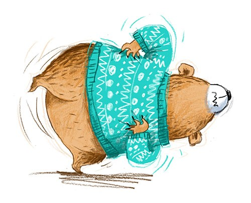 Paula Bowles Illustration - paula, bowles, paula bowles, digital, illustrator, photoshop, cute, sweet, YA, young reader, commercial, picture book, fiction, coloured pencil, sketchy, hand, drawn, bear, humour, funny, scratch, itch, jumper, wooly