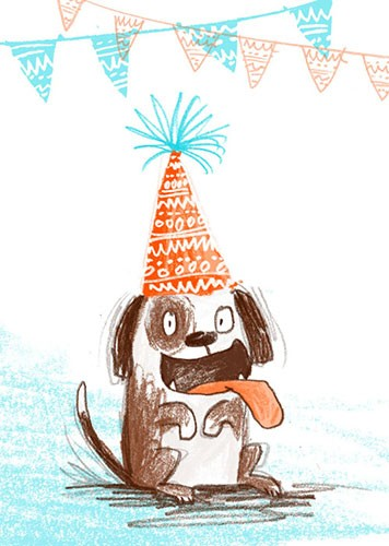 Paula Bowles Illustration - paula, bowles, paula bowles, digital, illustrator, photoshop, cute, sweet, YA, young reader, commercial, picture book, fiction, coloured pencil, sketchy, dog, birthday, hat, happy, card