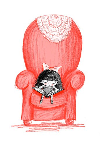 Paula Bowles Illustration - paula, bowles, paula bowles, digital, illustrator, photoshop, cute, sweet, YA, young reader, commercial, picture book, fiction, coloured pencil, sketchy, hand, drawn, cute, sweet, young, madeleine, girl, chair, reading, book