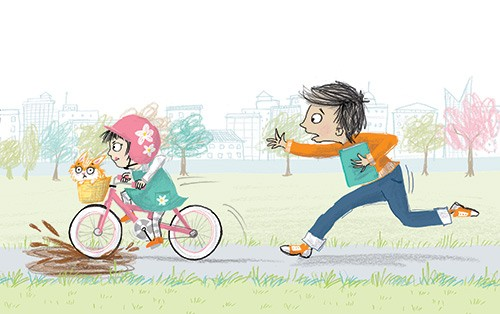 Paula Bowles Illustration - paula, bowles, paula bowles, digital, illustrator, photoshop, cute, sweet, YA, young reader, commercial, picture book, fiction, coloured pencil, sketchy, children, boy, girl, sister, brother, people, person, kitten, cat, pet, bike, trees, park, humour, hu