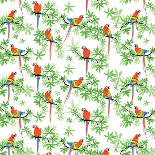 Paula Bowles Illustration - paula, bowles, paula bowles, digital, illustrator, photoshop, YA, young reader, picture book, fiction, parrot, bird, repeat pattern, colourful, leaves