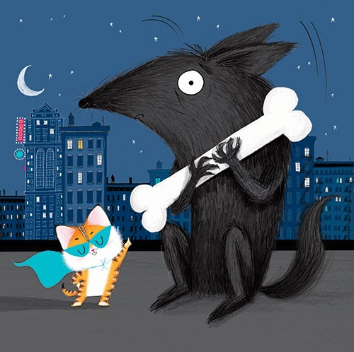 Paula Bowles Illustration - paula, bowles, paula bowles, digital, illustrator, photoshop, cute, sweet, YA, young reader, commercial, picture book, fiction, coloured pencil, sketch, city, new york, animals, superheroes, cat, kitten, dog, bone, villain, thief, night, skyline, building
