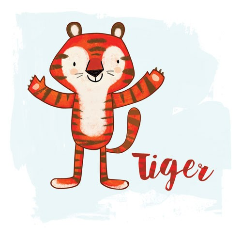 Purificacion  Hernandez  Illustration - Purificacion, hernandez, purificacion hernandez, commercial, trade, fiction, greetings cards, tiger, cute, animals, animal, roar, sweet, humour