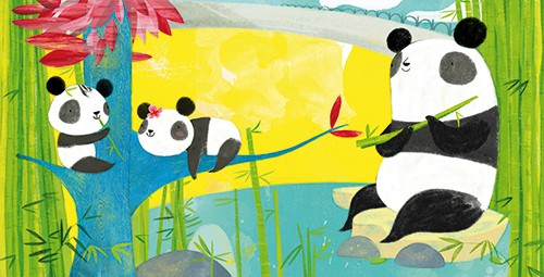 Purificacion Hernandez Illustration - Purificacion, hernandez, purificacion hernandez, commercial, trade, fiction, greetings cards, cute, sweet, young, picture books, activity, stationary, digital, photoshop, illustrator, painted, YA, young reader, panda, babies, mummy, family
