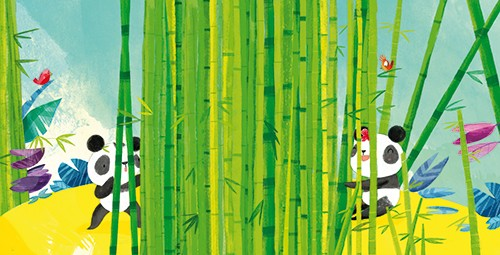 Purificacion Hernandez Illustration - Purificacion, hernandez, purificacion hernandez, commercial, trade, fiction, greetings cards, cute, sweet, young, picture books, activity, stationary, digital, photoshop, illustrator, painted, bamboo, YA, young reader, panda, animals, family, mummy, babie