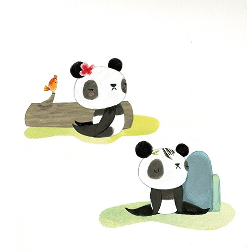 Purificacion Hernandez Illustration - Purificacion, hernandez, purificacion hernandez, commercial, trade, fiction, greetings cards, cute, sweet, young, picture books, activity, stationary, digital, photoshop, illustrator, painted, YA, young reader, panda, babies, grumpy, bird, siblings