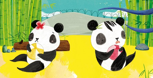 Purificacion Hernandez Illustration - Purificacion, hernandez, purificacion hernandez, commercial, trade, fiction, greetings cards, cute, sweet, young, picture books, activity, stationary, digital, photoshop, illustrator, painted,babies, animal, panda, siblings, ball, play, bamboo
