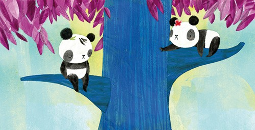 Purificacion Hernandez Illustration - Purificacion, hernandez, purificacion hernandez, commercial, trade, fiction, greetings cards, cute, sweet, young, picture books, activity, stationary, digital, photoshop, illustrator, painted, YA, young reader, panda, tree, colourful, sad, siblings