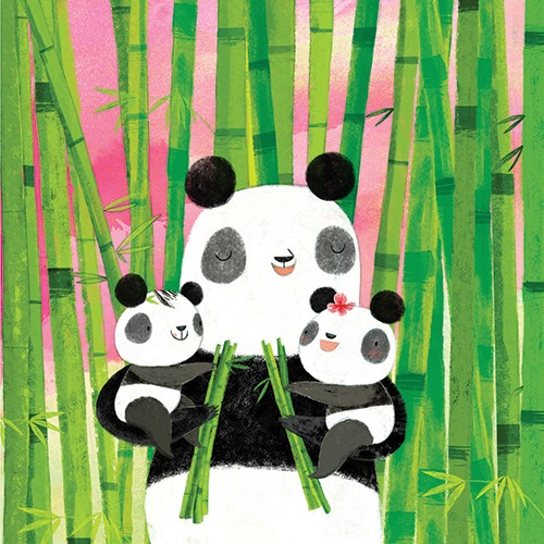 Purificacion Hernandez Illustration - Purificacion, hernandez, purificacion hernandez, commercial, trade, fiction, greetings cards, cute, sweet, young, picture books, activity, stationary, digital, photoshop, illustrator, painted, cuddles, love, mummy, family, babies, animals, panda