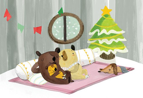 Purificacion  Hernandez  Illustration - Purificacion, hernandez, purificacion hernandez, commercial, trade, fiction, greetings cards, cute, sweet, young, picture books, activity, stationary, digital, photoshop, illustrator, painted, bears, christmas, winter, tree, cuddle, hug, warm, dog, puppy, tree, star, snow, cold, winter, pillows, bed, sleep