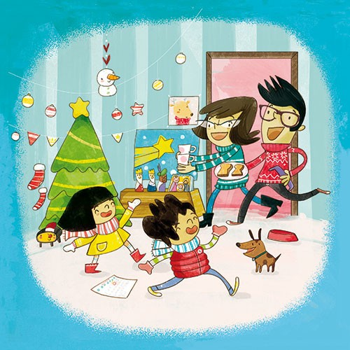 Purificacion  Hernandez  Illustration - Purificacion, hernandez, purificacion hernandez, commercial, trade, fiction, greetings cards, cute, sweet, young, picture books, activity, stationary, digital, photoshop, illustrator, painted, family, mum, dad, parents, children, boy, girl, brother, sister, tree, christmas, festive, tree, snow, stars, baubles, dog, jumpers, nativity, home, house,  glasses