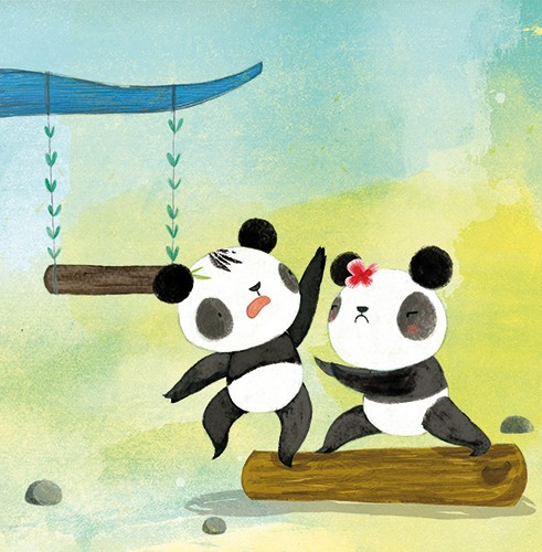 Purificacion Hernandez Illustration - Purificacion, hernandez, purificacion hernandez, commercial, trade, fiction, greetings cards, cute, sweet, young, picture books, activity, stationary, digital, photoshop, illustrator, painted, playing, panda, animals, YA, young reader