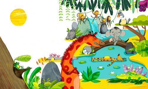 Purificacion Hernandez Illustration - Purificacion, hernandez, purificacion hernandez, commercial, trade, fiction, cute, sweet, young, picture books, digital, photoshop, illustrator, painted, YA, young reader, animals, nature, giraffe, waterfall, elephant, monkeys, birds, trees, plants, flowe