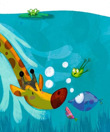 Purificacion Hernandez Illustration - Purificacion, hernandez, purificacion hernandez, commercial, trade, fiction, cute, sweet, young, picture books, digital, photoshop, illustrator, painted, YA, young reader, animals, jungle, water, lake, ocean, underwater, giraffe, frogs, fish, surprise, fr