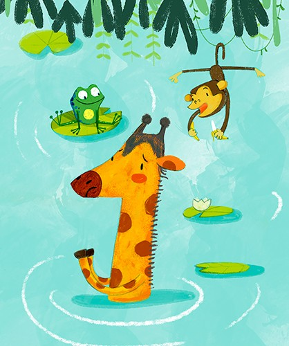 Purificacion Hernandez Illustration - Purificacion, hernandez, purificacion hernandez, commercial, trade, fiction, cute, sweet, young, picture books, digital, photoshop, illustrator, painted, YA, young reader, jungle, animals, giraffe, frog, monkey, vines, trees, plants, lilypad, water, lake,