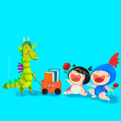Purificacion Hernandez Illustration - Purificacion, hernandez, purificacion hernandez, commercial, trade, fiction, cute, sweet, young, picture books, digital, photoshop, illustrator, painted, YA, young reader, dinosaur, toys, toy, children, child, boy, girl, baby, babies, playing, dress up, p
