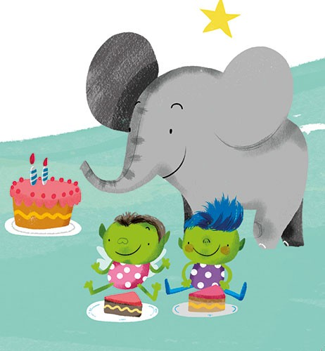 Purificacion Hernandez Illustration - purificacion hernandez, commercial, trade, fiction, cute, sweet, young, picture books, activity, digital, photoshop, illustrator, painted, young reader, party, birthday, birthday party, elephant, animal, cake, goblins, star, candles, happy, friends