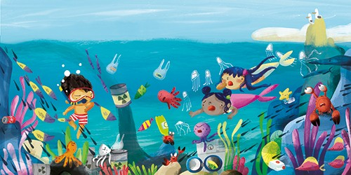 Purificacion Hernandez Illustration - purificacion hernandez, commercial, trade, fiction, picture book, colour, colourful, texture, hand drawn, traditional, underwater, ocean, sea, mermaids, characters, girls, boy, snorkelling, swim, swimming, fun, fish, adventure, litter, sad, pollution, env