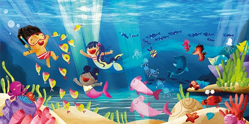 Purificacion Hernandez Illustration - purificacion hernandez, commercial, trade, fiction, picture book, colour, colourful, texture, hand drawn, traditional, underwater, ocean, sea, mermaids, characters, girls, boy, snorkelling, swim, swimming, fun, happy, fish, adventure, sunlight, sun, rays,