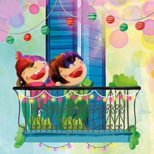 Purificacion Hernandez Illustration - purificacion hernandez, commercial, trade, fiction, picture book, colour, colourful, texture, hand drawn, traditional, photoshop, digital, characters, girl, boy, kids, children, lights, balcony, celebration, festival, flowing, fun, exciting, celebrate, oc