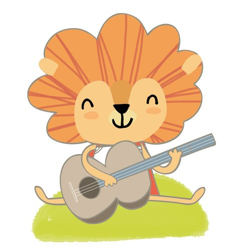 Purificacion Hernandez Illustration - purificacion hernandez, purificacion, hernandez, commercial, trade, greetings cards, stationary, cute, sweet, young, picture book, photoshop, illustrator, digital,lions, animals, pets, zoo, guitars,music, musical instruments, grass, green, outdoors, outsi
