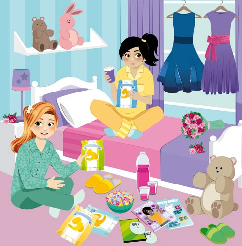 Paula Franco Illustration - paula franco, paula, franco, mass, commercial, digital, educational, advertising, editorial, novelty, fiction, young reader, photoshop, illustrator, girls, women, teenagers, female, friends, sleepover, bedroom, clothes, midnight feast, treats,