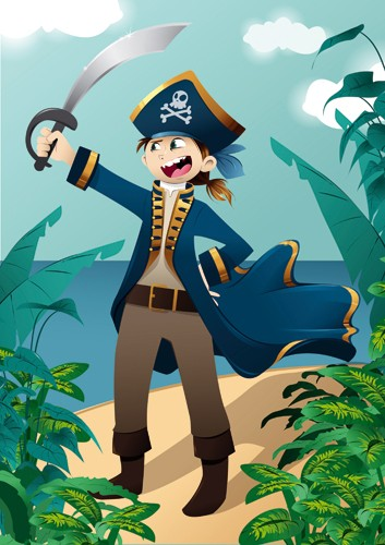 Paula Franco Illustration - paula franco, paula, franco, mass, commercial, digital, educational, advertising, editorial, novelty, fiction, young reader, photoshop, illustrator, pirate, boy, man, beach, sword, pirates, treasure, skull and crossbones, skull