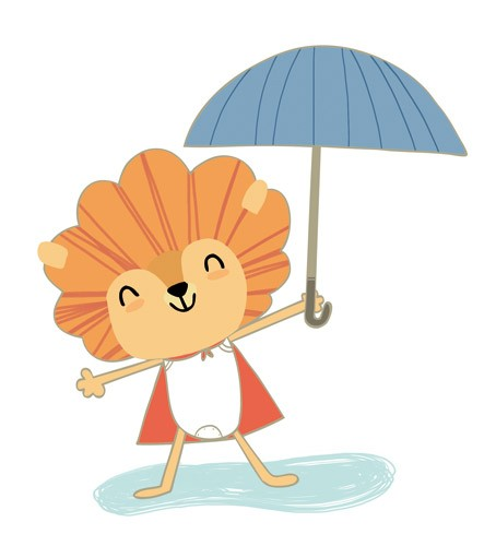 Purificacion Hernandez Illustration - Purificacion, hernandez, purificacion hernandez, commercial, trade, fiction, greetings cards, cute, sweet, young, picture books, activity, stationary, digital, photoshop, illustrator, painted, animals, pets, wild, lions, lioness, raining, umbrellas, puddl